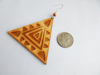 Triangle Earrings Wooden Jewelry Handmade Wood Funky Unique