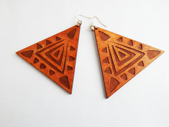 Wooden Triangle Shaped Earrings