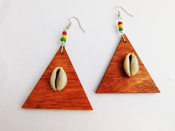 Rasta Earrings Wooden Jewelry Beaded Ethnic Jewelry