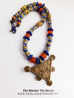 African Necklaces Triangle Jewelry Beaded Blue Orange Handmade