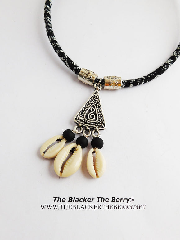 Tribal Necklace Black White Cowrie Shell Fabric Jewelry