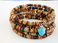 Turquoise Beaded Bracelet Earring Jewelry Set Adjustable