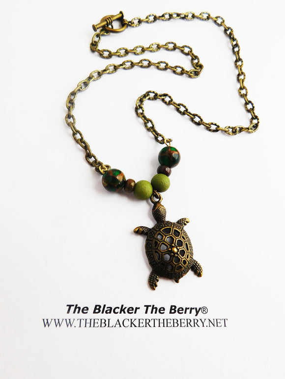 Turtle Necklace Brass Beaded Green