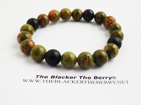 Natural Stone Beaded Bracelet Green Black