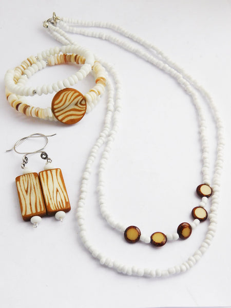 White Jewelry Set Beaded Necklaces Earrings Bracelets Gift Ideas for Her Women