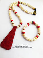 Leather Necklace Red Beaded Cream Jewelry Set Bracelets