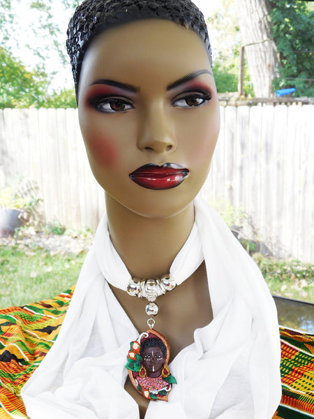 White Scarf Fall Accessories Ethnic Pendant Afrocentric