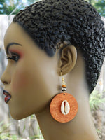Cowrie Shell Earrings Wooden Ethnic Jewelry Gift Ideas for Her