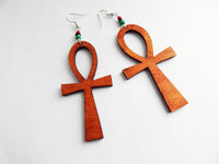Ankh Earrings Wood RBG Beaded Ankhs Jewelry The Blacker The Berry®