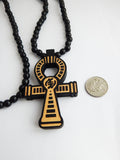 Large Ankh Necklace Wood Beaded Egyptian Jewelry Men