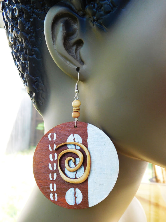 Ethnic Earrings Hand Painted Jewelry Afrocentric