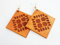 Large Wood Earrings Ethic Wooden Jewelry Handmade
