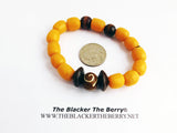 Bracelets Beaded Jewelry Brown Wooden Glass Yellow Men Handmade