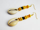 Cowrie Shell Beaded Yellow Ethnic Jewelry Dangle