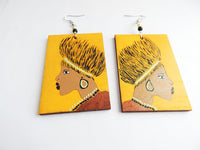 African Earrings Afrocentric Jewelry Women Yellow Earrings Hand Painted Wooden