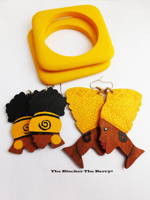African Earrings Yellow Black Wooden Jewelry Ethnic