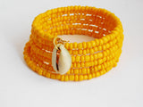 Yellow Bracelet Beaded Adjustable Jewelry Cowrie Shell
