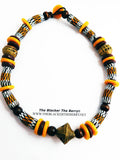 Men African Necklaces Beaded Jewelry Yellow Brown