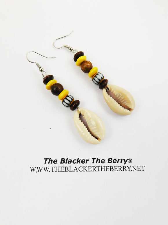 Cowrie Earrings Yellow Beaded Ethnic Handmade Shell Jewelry