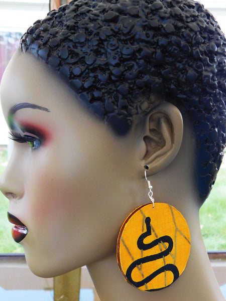 Yellow Earrings African Fabric Jewelry Handmade Ethnic Afrocentric