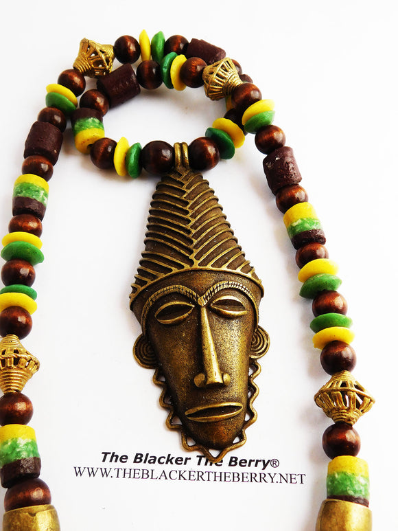 African Men Necklaces Beaded Yellow Green Jewelry Large