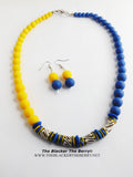 Yellow Blue Beaded Necklaces Women Ethnic African Summer