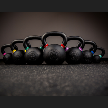 Black Cast Kettlebells with Coloured Stripe - Full Metal Industries