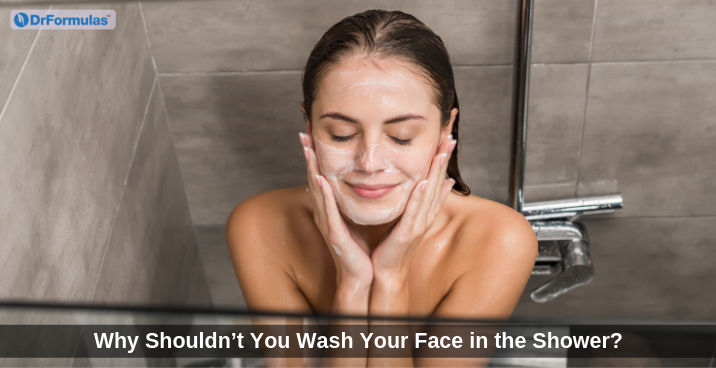 washing face in shower