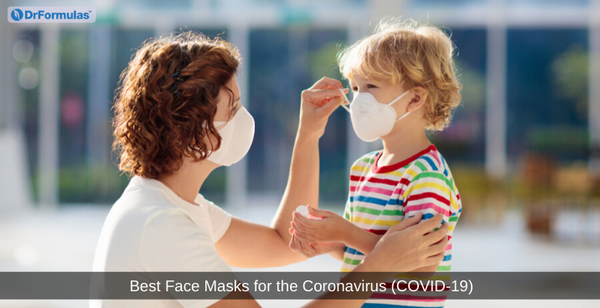 mom and son wearing face mask for coronavirus