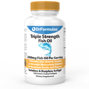 DrFormulas Omega 3 Fish Oil 2000 Milligram Burpless Supplement | Triple Strength Omega 3 (EPA and DHA) Once Daily (Not 6-9) Softgel Pills (Not Capsules or Gummies)