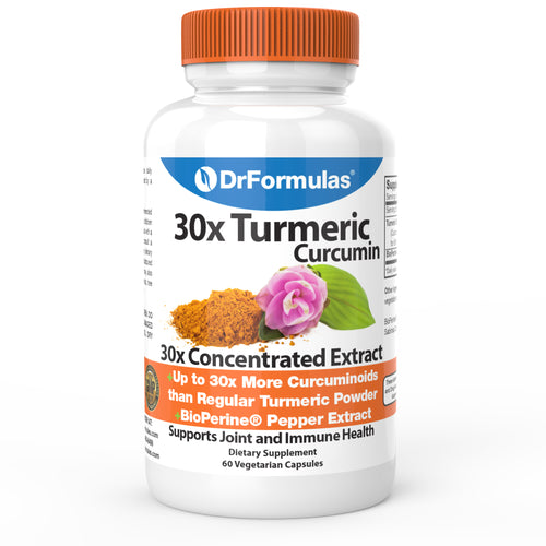 DrFormulas 30x Turmeric Curcumin | 30x Concentrated Anti Inflammatory Supplement, 60 Capsules