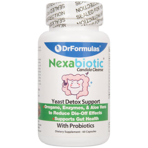DrFormulas Probiotics for Yeast Overgrowth & Balance for Women and Men | Candida Cleanse Complex Detox | Nexabiotic Probiotics, Oregano, Digestive Enzymes, 60 Capsules