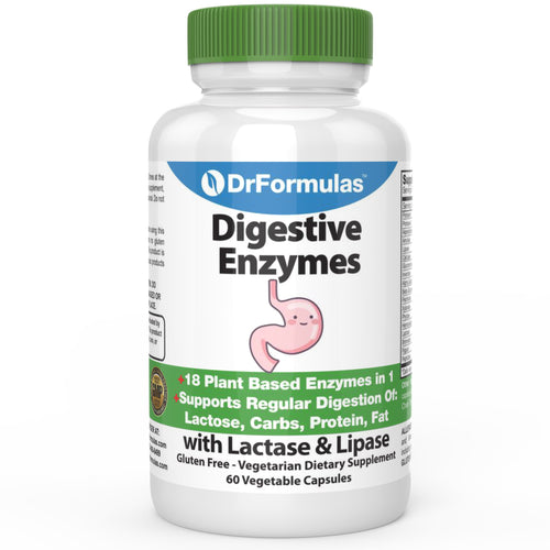 DrFormulas Digestive Enzymes for Bloating Relief, Gas, Lactose Intolerance, Digestion Support with Lactase, Amylase, Lipase, Bromelain, Protease, 60 Capsules