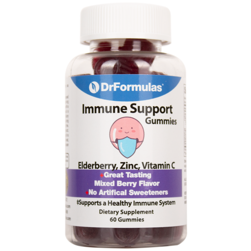 DrFormulas Sambucus Elderberry Gummies with Zinc and Vitamin C, Gluten Free, Vegetarian, 60 Gummies