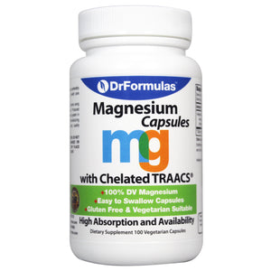 DrFormulas Magnesium Glycinate 400 mg for Women, Men, Kids 100% DV Supplement with Chelated TRAACS Magnesium byglycinate Capsules for High Absorption, 25 Day Supply