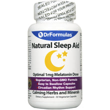 DrFormulas 1mg Melatonin Natural Herbal Sleep Aid Pills for Adults and Kids with L-Theanine, GABA Fast Acting 30 Day Supply