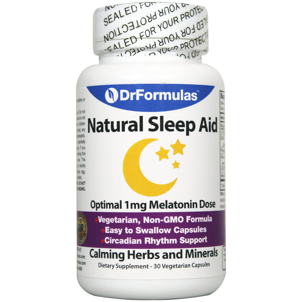 DrFormulas 1mg Melatonin Natural Herbal Sleep Aid Pills for Adults and Kids with L-Theanine, GABA Fast Acting 60 Day Supply