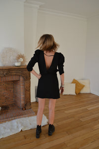 Robe noire manches bouffantes SHARON
