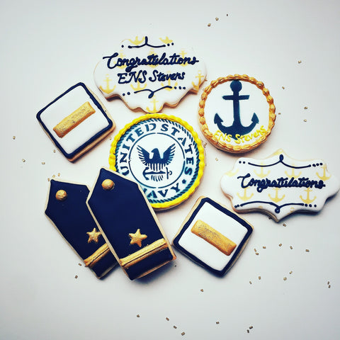 Navy military cookies made with Anchor Pattern Cookie Stencil
