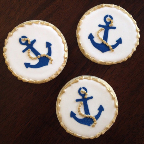 Nautical cookies made with Anchor Cookie Stencil