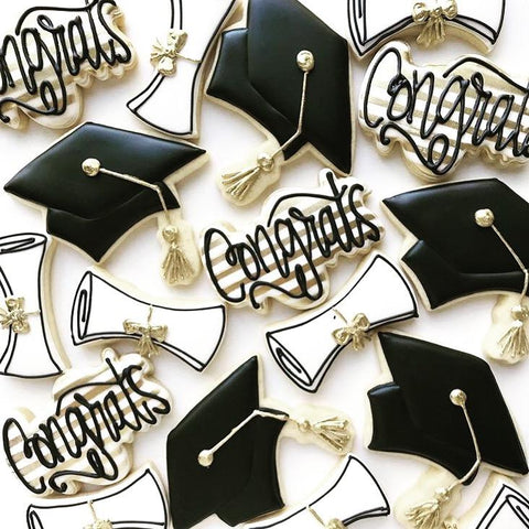 Elegant Graduation Cookies made with Thin Stripes Cookie Stencil