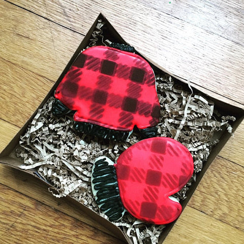 Winter Accessories made with Buffalo Plaid Stencil