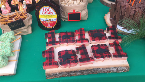 Lumberjack Themed cookies made with Buffalo Plaid Cookie Stencil