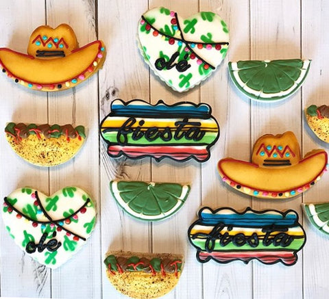 Cinco de Mayo Fiesta Cookies made with Cactus Pattern Cookie Stencil