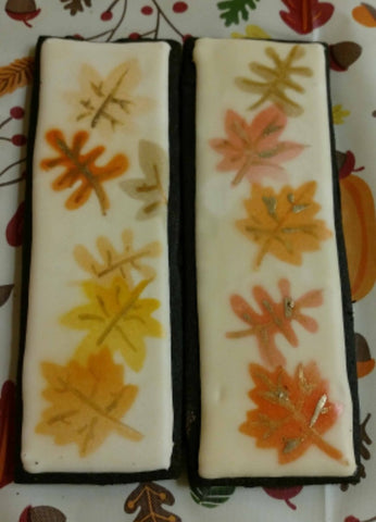 Fall themed cookies made with Fall Leaves Oreo Stencil
