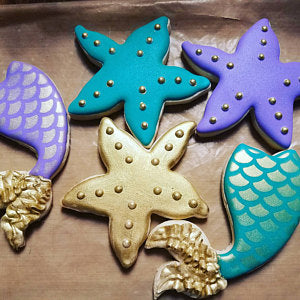 Mermaid themed cookies made with Fish Scale Cookie Stencil