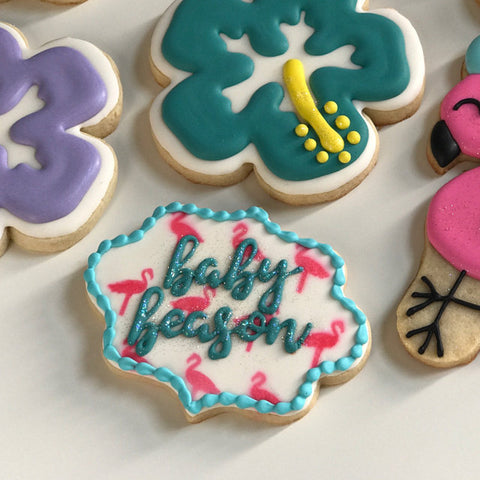 Luau baby shower cookies made with Flamingo Pattern Cookie Stencil