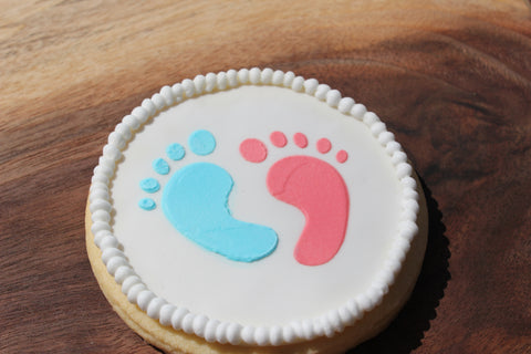 Gender Reveal cookie example made with Baby Footprint Cookie Example