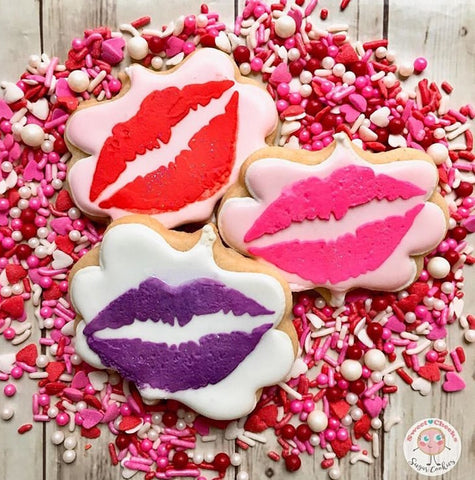 Lipstick Kiss Cookie Stencil shown on Plaque Shaped Cookies