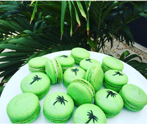 Tropical macarons made with Palm Tree Pattern Cookie Stencil